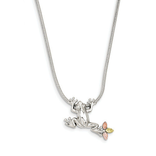 Sterling Silver and 12K Frog Slide Necklace QBH146-20
