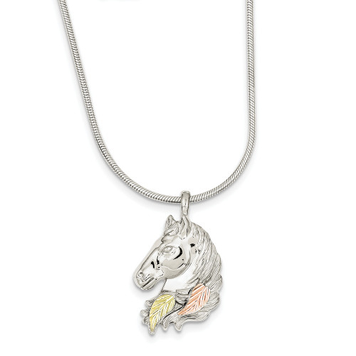 Sterling Silver And 12K Gold Horsehead Slide Necklace QBH111-20