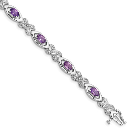 Sterling Silver Diamond And Amethyst Infinity Bracelet QX820AM