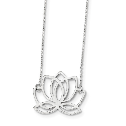 Sterling Silver Lotus Flower Necklace QG4460-18