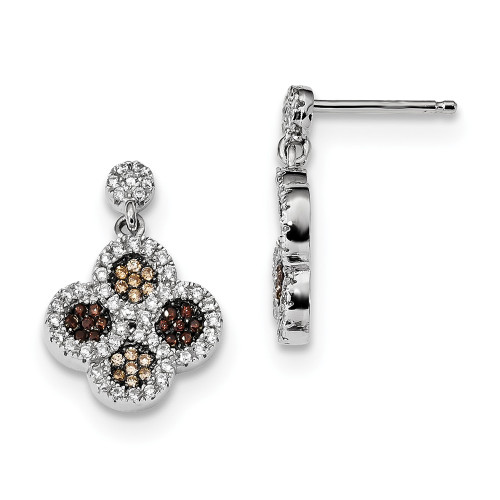 Sterling Silver Brilliant Embers Cubic Zirconia (CZ) Flower Dangle Earrings QMP716