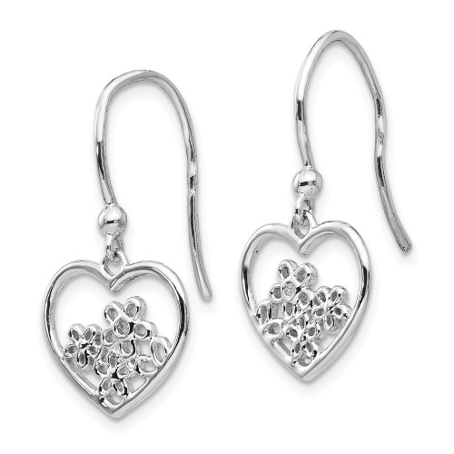 Sterling Silver White Ice Heart Shaped With Flower Diamond Earrings QW344