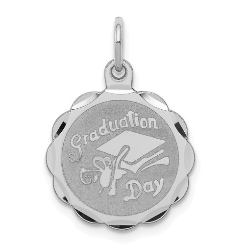 Sterling Silver Graduation Day Disc Charm QC2418