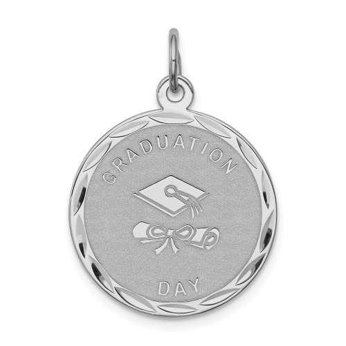 Sterling Silver Graduation Day Disc Charm QC2427