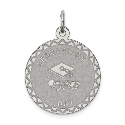 Sterling Silver Graduation Day Disc Charm QC2433