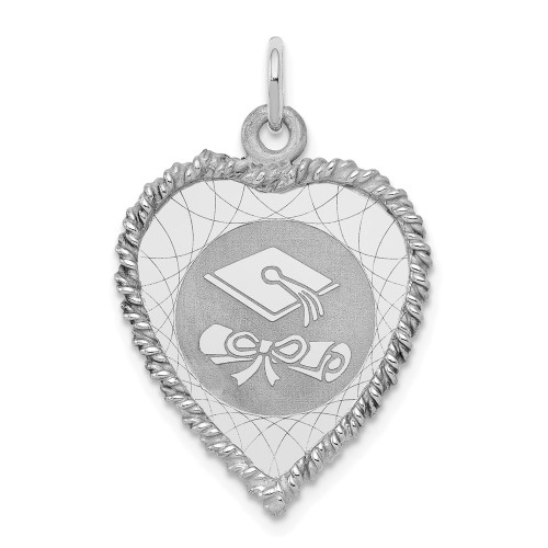 Sterling Silver Graduation Cap And Diploma Disc Charm QC2426