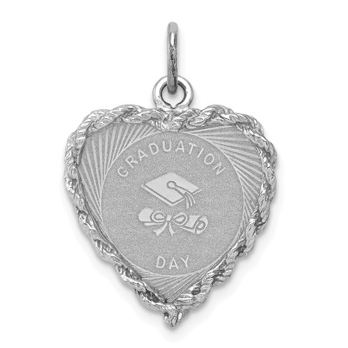 Sterling Silver Graduation Cap And Diploma Disc Charm QC2424