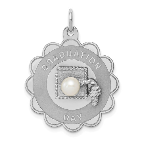 Sterling Silver Graduation Day Disc With FW Cultured Pearl Charm QC2430