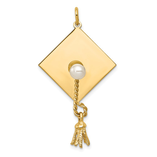14k Yellow Gold 3-D Graduation Cap With FW Cultured Pearl Charm XAC703