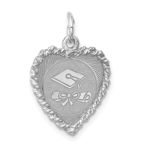 Sterling Silver Graduation Cap And Diploma Disc Charm QC2425