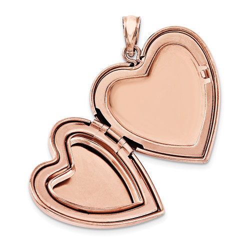 Sterling Silver Rose Gold-Plated Scrolled Heart Family Locket QLS753
