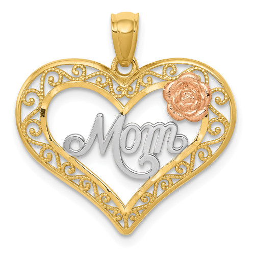 14K Two-tone Gold D/C Mom In Heart With Rose Pendant K5896