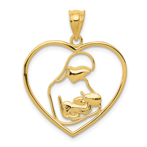 14K Yellow Gold Mother And Child In Heart Pendant K4088