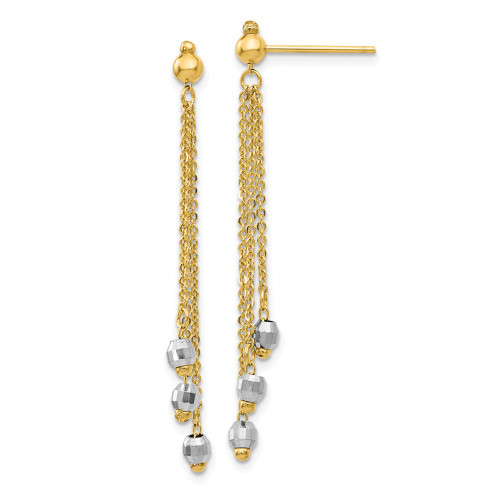 14K Two-Tone Gold Cable Chain Faceted Bead Earrings TH555