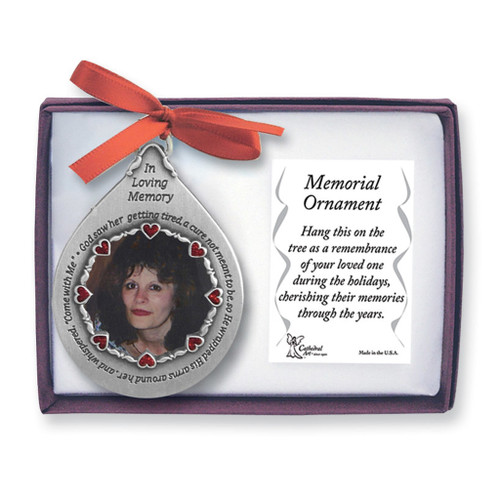 In Loving Memory Pewter Teardrop For Her Memorial Photo Ornament GM4177