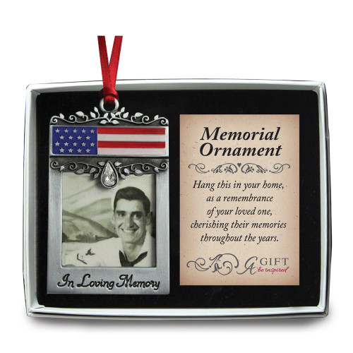 In Loving Memory Memorial Patriotic Photo Frame Ornament GM17297