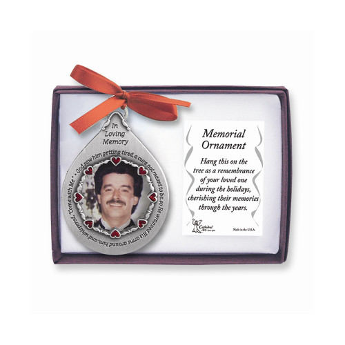 In Loving Memory Pewter Teardrop For Him Memorial Photo Ornament GM4176