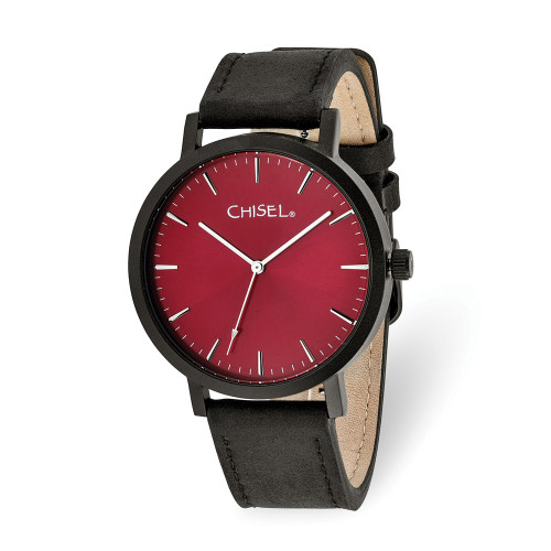 Chisel Matte Black IP-Plated Red Dial Watch TPW125
