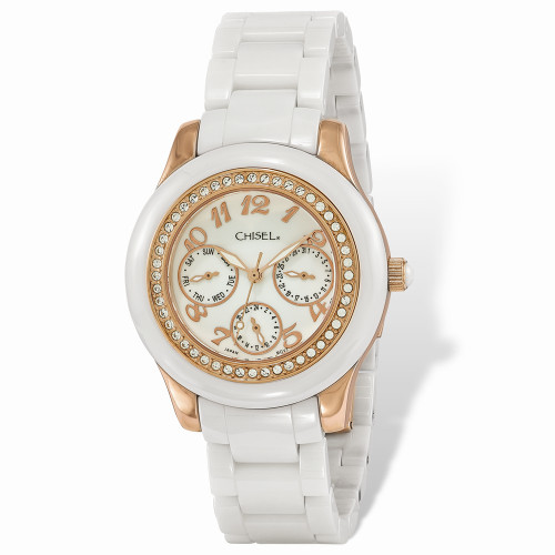 Ladies Chisel Rose IP-Plated White Dial Ceramic Watch TPW116