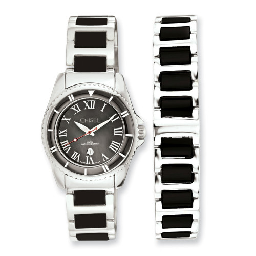 Ladies Chisel Stainless Steel Black Dial Watch And 7.5in Bracelet Set TPW58