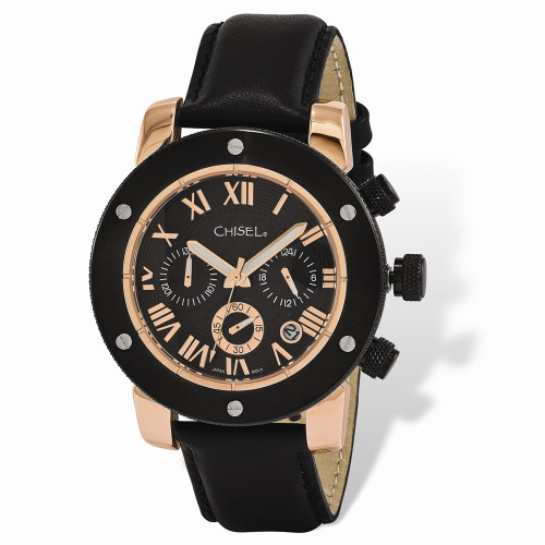Mens Chisel Rose IP-Plated Black Dial Chronograph Watch TPW119