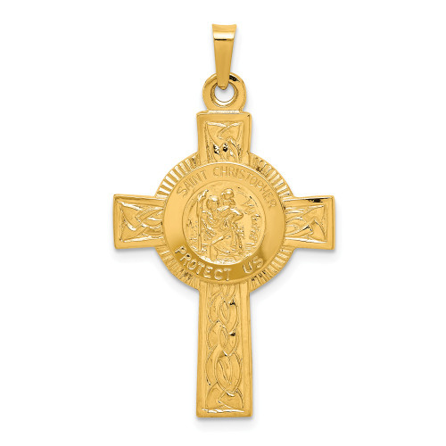 14k Yellow Gold Cross With Saint Christopher Medal Pendant REL107