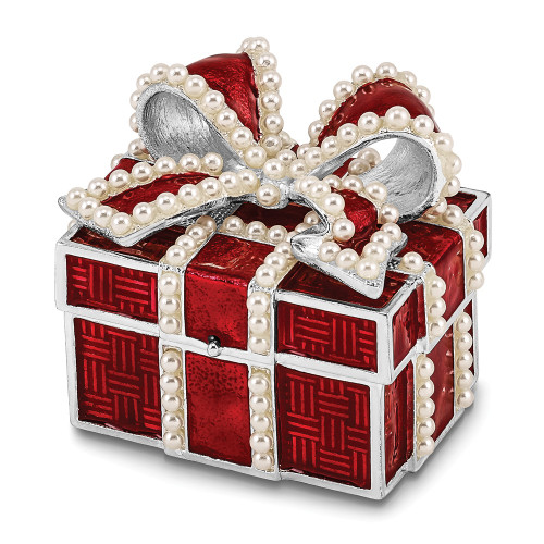 Bejeweled EXCITEMENT Faux Pearl Red Gift Box Trinket Box BJ4043