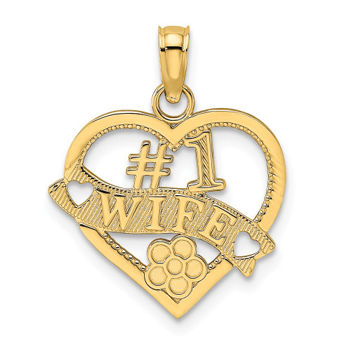 14k Yellow Gold #1 Wife Heart Charm K2687