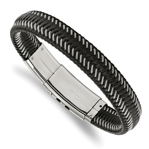 Chisel Stainless Steel Black Leather With Wire Adjustable Bracelet SRB1930