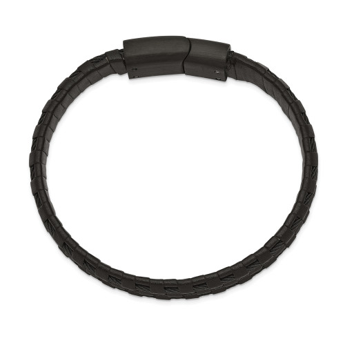 Chisel Stainless Steel Black IP Leather And Wire Bracelet SRB2444-8.25