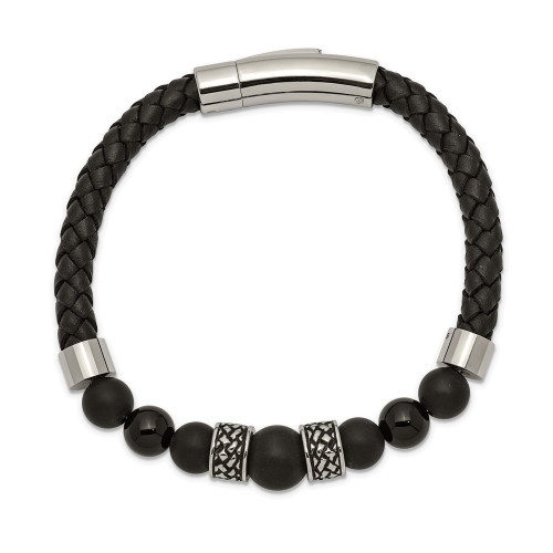 Chisel Stainless Steel Antiqued Black Agate Leather 8.25in Bracelet SRB2492-8.25