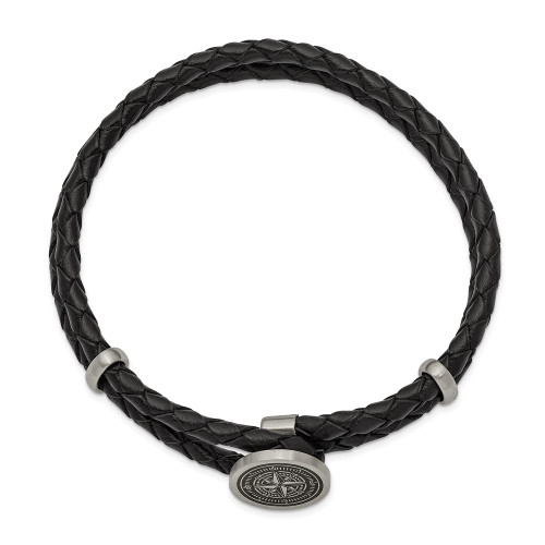 Chisel Stainless Steel Lasered Compass Black Leather 8.5in Bracelet SRB2475-8.5