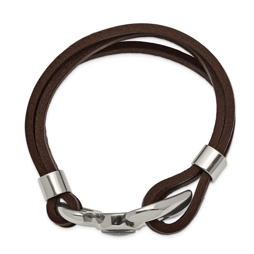Chisel Stainless Steel Functional Compass Brown Leather 8.5in Bracelet SRB2480-8.5