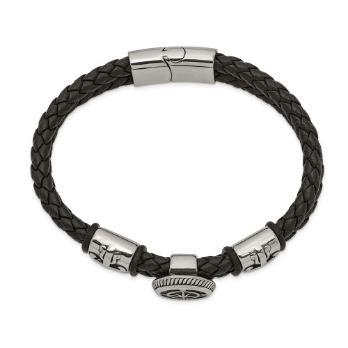 Chisel Stainless Steel Antiqued Black Leather With Rubber 8.25in Bracelet SRB2477-8.25