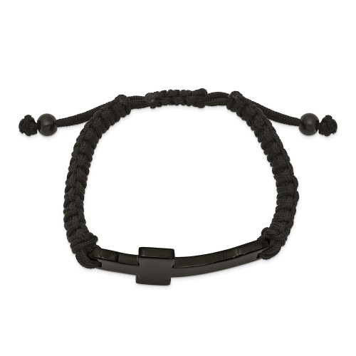 Chisel Stainless Steel Black IP Black Nylon Adjustable Cross Bracelet SRB2382