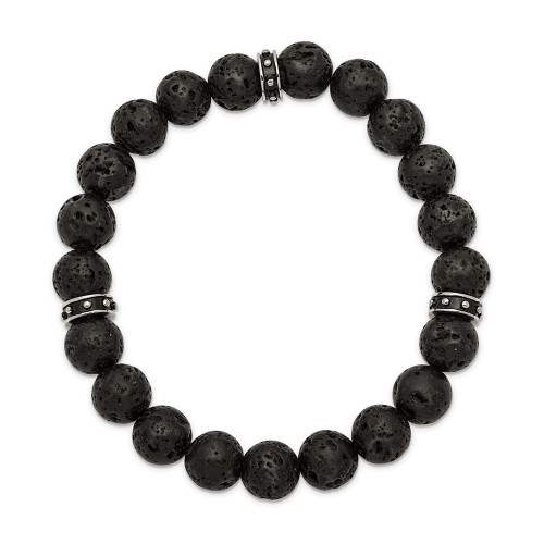 Chisel Stainless Steel Black Enamel Lava Stone Beads Stretch Bracelet SRB2497