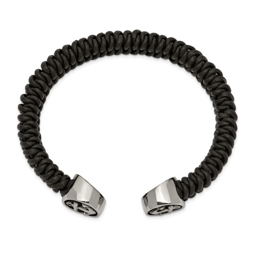 Chisel Stainless Steel Antiqued Black Leather Anchor Cuff Bracelet SRB2482