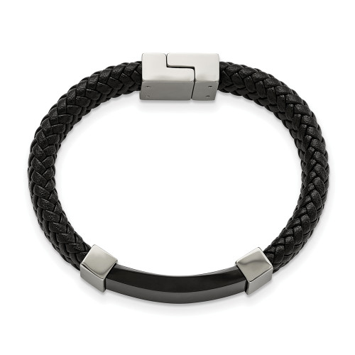 Chisel Stainless Steel Black IP-Plated With Black Leather 8.5in Bracelet SRB1920-8.5