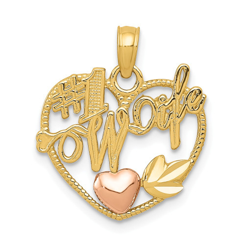 14k Two-Tone Gold #1 Wife In Heart With Heart Pendant K1711
