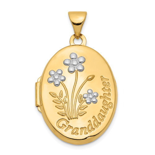 14k Yellow Gold Oval Granddaughter Locket with Sentiment XL633