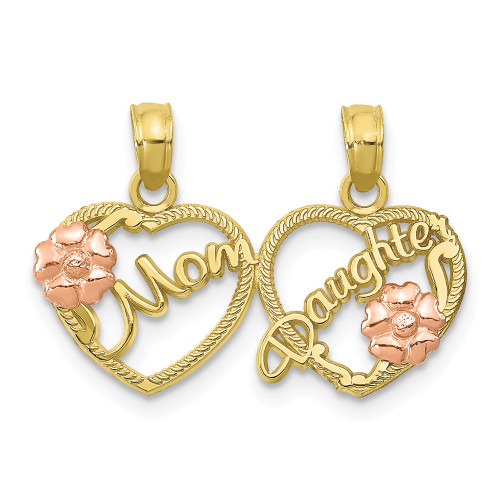 10k Two-Tone Gold Mom - Daughter Breakable Hearts Pendant 10K1714