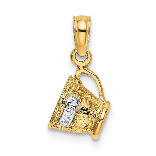 14k Yellow Gold With Rhodium 3-D Baby Cup Charm K9120