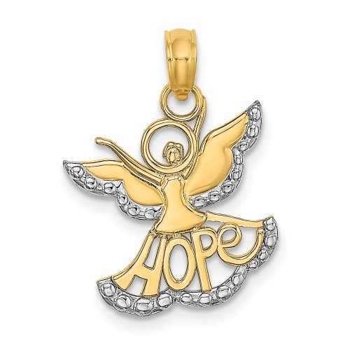 14k Yellow Gold and Rhodium Cut-Out Angel With Hope Charm  K9547