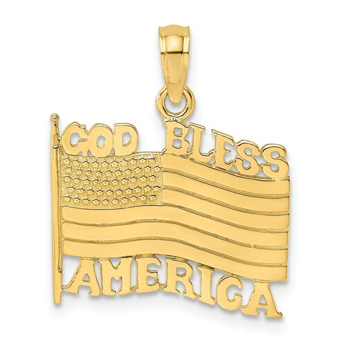 14K Yellow Gold God Bless America With Flag Charm K7259