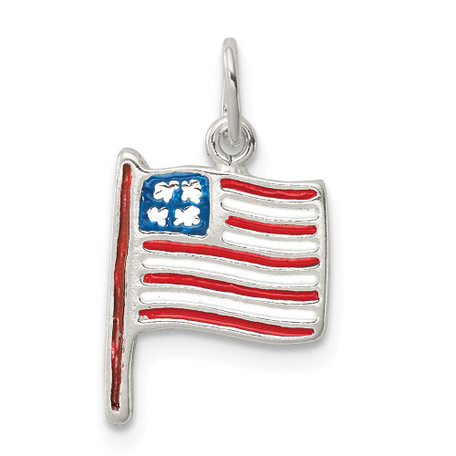 Sterling Silver American Flag Pendant QC8636
