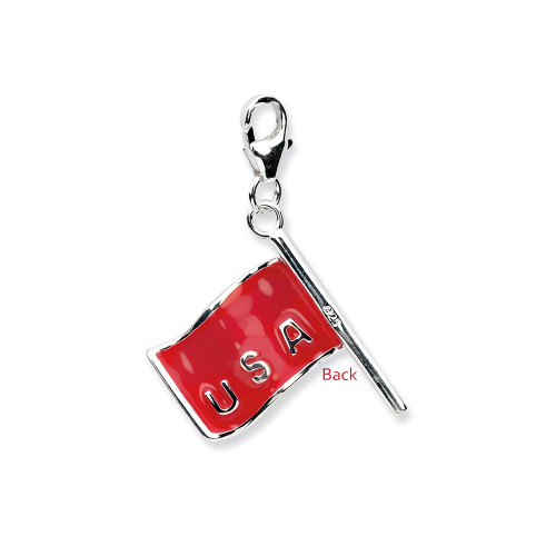 Sterling Silver 3-D Reversible American Flag With Lobster Clasp Charm QCC571