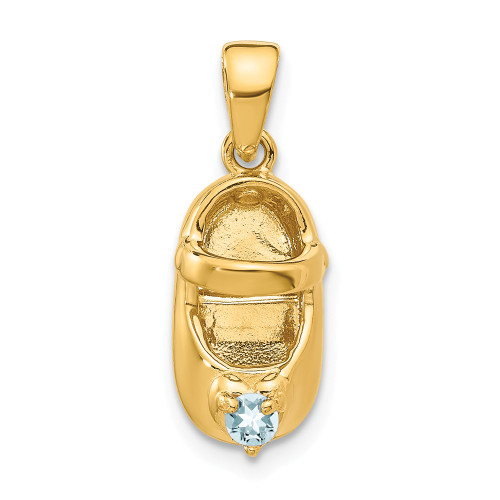 14k Yellow Gold 3-D March Synthetic Stone Baby Shoe Charm K4652MAR
