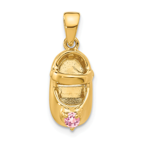 14k Yellow Gold 3-D October Synthetic Stone Baby Shoe Charm K4652OCT