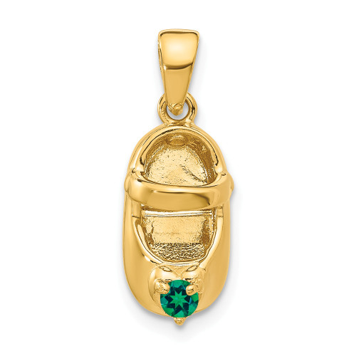 14k Yellow Gold 3-D May Synthetic Stone Baby Shoe Charm K4652MAY