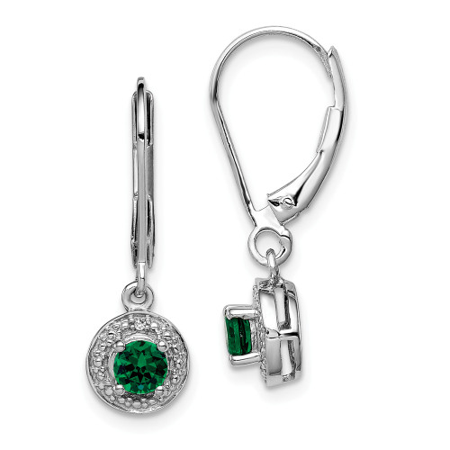 Sterling Silver Diamond and Created Emerald Birthstone Earrings QBE11MAY
